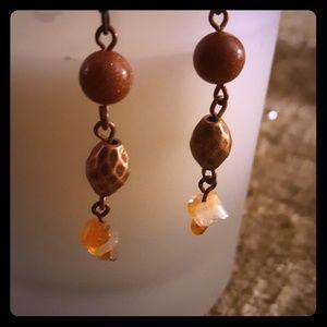 Premier Designs Beaded Amber Dangle Earrings